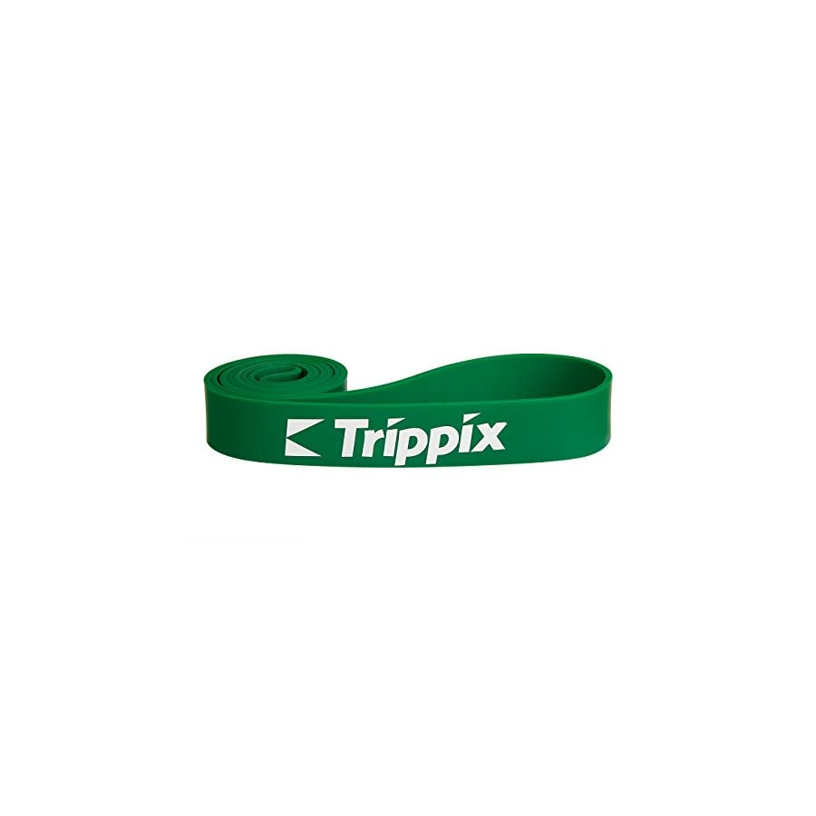 Trippix Loop Stretch Pull Up Assist Band Home Gym Workout for Fintness Injury Recovery Physio Therapy 41x1.7x0.18 50 125 lb Green for a Single Unit