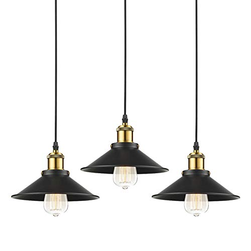 - STGLIGHTING 3-Pack H-Type Track Light Pendants 4.9 Feet Cord Restaurant Chandelier Decorative Instant Pendant Light Industrial Factory Pendant Lamp Bulb Not Included