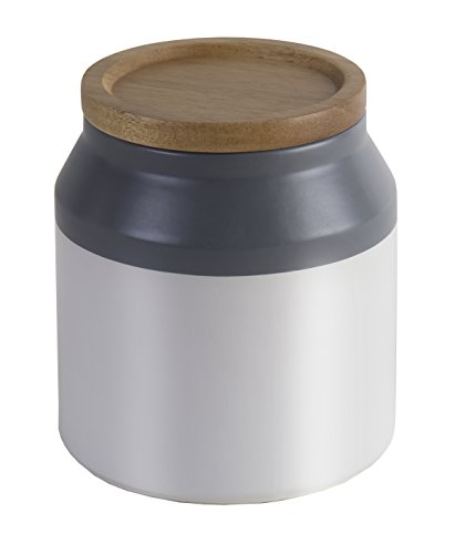 (Jamie Oliver Food Storage Jar with Wooden Lid, Small Ceramic Kitchen Container, Gray)