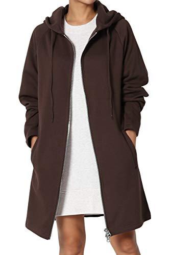 TheMogan Women's Hoodie Oversized Zip Up Long Fleece Sweat Jacket Brown M/L