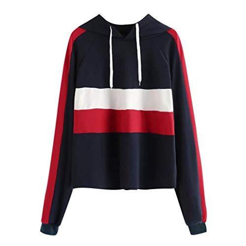 Bafaretk Womens Striped Print Sweatshirt Long Sleeve Casual Hooded Drawstring Blouse (S, Black) by Bafaretk