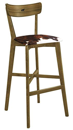 "The Furniture Cove 1-30"" Tall Wood Walnut Finish Bar Stool with a Backrest Featuring a Custom Branding Iron Design and Your Choice of an Authentic Cowhide Covered Seat Cushion (Dark Brown Dapple) ()"