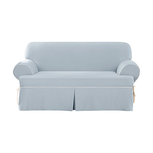 Sure Fit Cotton Duck - Loveseat Slipcover  - Sky Blue/Natural (SF43599)