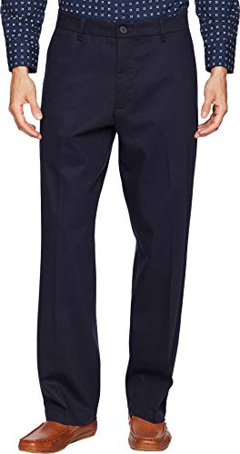 Khakis Cotton Stretch (Dockers Men's Relaxed Fit Signature Khaki Lux Cotton Stretch Pants D4, Navy, 36W x 30L)