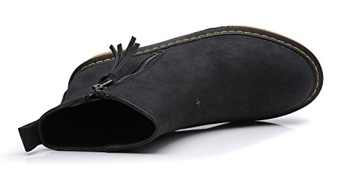 Minotta HH222-4 Women's Side Zipper Simple Winter Round Top Ankle Booties Black bvGMC