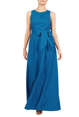 eShakti Women's Stretch cotton poplin sash tie maxi dress 1X-16W Regular Ocean (Sleeveless Stretch Poplin Dress)