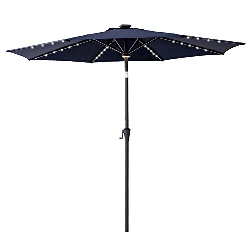 FLAME SHADE 10 Round LED Light Outdoor Patio Market Umbrella Solar Rechargeable Battery Crank Lift and Push Button Tilt Navy Blue