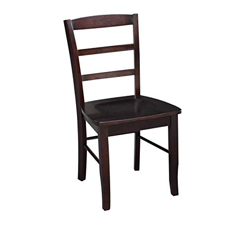 Wood & Style Furniture Madrid Ladder Back Chair, Java Home Office Commerial Heavy Duty Strong - Chair Madrid Office