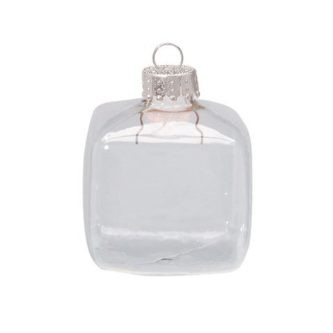 Set of 8 Clear Glass Fillable Cube Ornaments: 1-3/4 inches