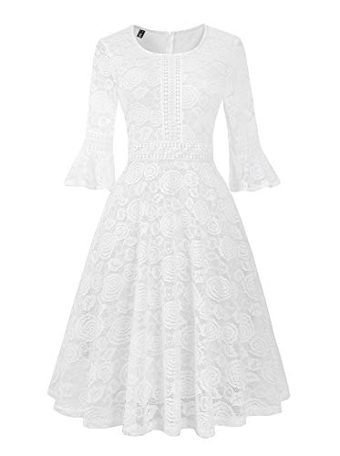 - Twinklady Women's Vintage Full Lace Bell Sleeve Big Swing A-Line Dress (White, L