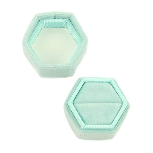 Koyal Wholesale Velvet Ring Box, Mint Green, Hexagon Vintage Wedding Ceremony Ring Box with Detachable Lid, 2 Piece Engagement Ring Box Holder, Modern Proposal Idea, Slim Ring Box Display