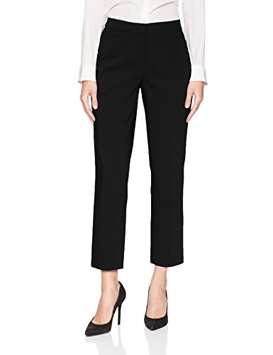 Rafaella Women's Lightweight Satin Twill Ankle Pant, Black, 12