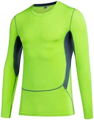 フィットネス服トップ メンズスプライスサンプロテクションスキンラッシュガード長袖実行するワークアウトトップス 筋トレ ストレッチ スポーツウェア ボディビル (Color : Green, Size : XL)