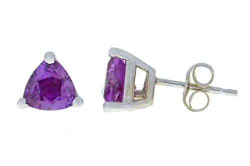 Trillion White Earrings - Created Alexandrite Trillion Stud Earrings 14Kt White Gold & Sterling Silver