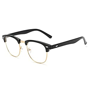 Pro Acme Vintage Inspired Semi-Rimless Clubmaster Clear Lens Glasses Frame