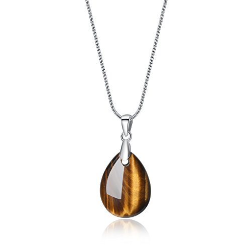 AmorWing Reiki Healing Teardrop Tiger Eye Stones Pendant Necklace for -