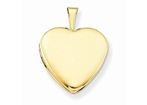 Pori Jewelers 14K Solid Yellow Gold Heart Locket Pendant- Perfect for Holding Photos, Messages, sentimental's (12mm) -