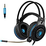 SADES SA936 Gaming Headset PlayStation 4 Headset PC Gaming HeadsetOver Ear Gaming Headphones with Mic LED Light For Xbox one PS4 PC Laptop Mac iPad iPod(Black&Blue)