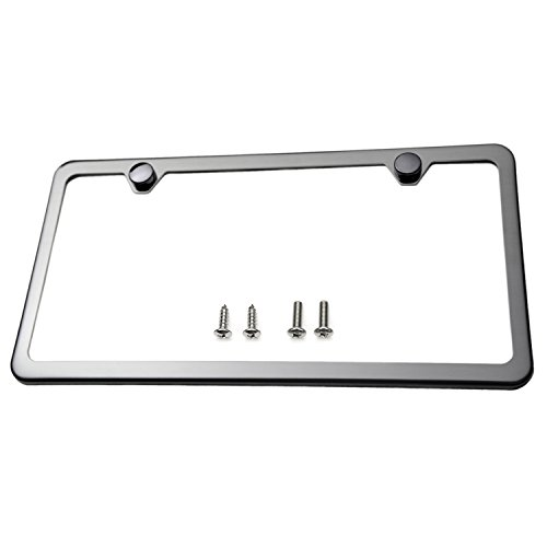 Polished Frame Gray - LFPartS Slim Style Polished Stainless Steel License Plate Frame Gunmetal Black Finish