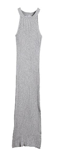 Plaid&Plain Women's Bodycon Slit Sleeveless Halter Ribbed Cotton Knit Dress Grey L