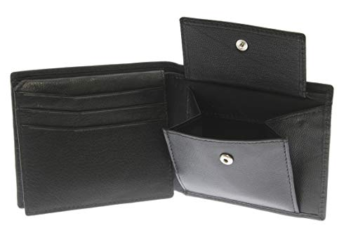 - Black Leather Wallet 6 Credit Cards 1 ID Card Coins Notes