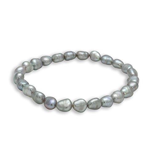 Baroque Grey Freshwater Cultured Pearl Stretch Beaded Bracelet (5-7mm)