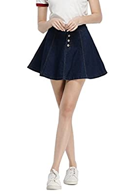 Women's Casual Denim A-Line Pleated Mini Skirt(Plus Size Available)