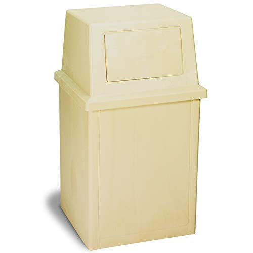 Continental 5735BE, 35-Gallon King Kan HDPE Waste Receptacle, Rectangular, Beige (Case of 1)