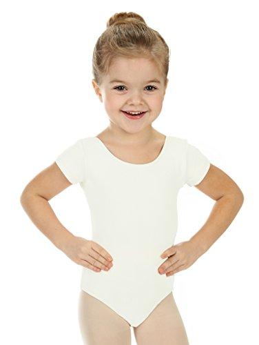 [Elowel Girls' Team Basics Short Sleeve Leotard Cream (size 4-6 )] (Dance Team Costume Tops)