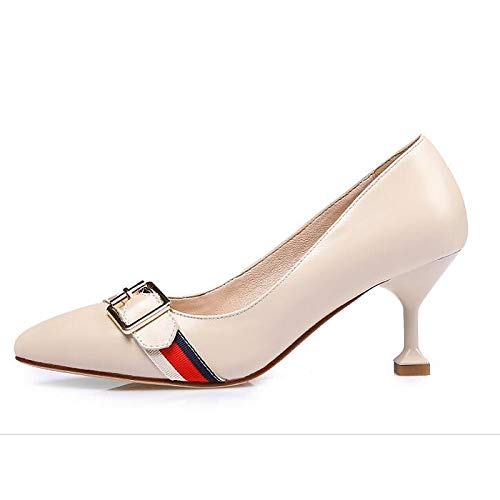 Mujer Fall Nappa Heel Almond ZHZNVX Cono Zapatos Black Talones Comfort Leather Pump Almond Basic Spring amp; de AwBgx0Bq