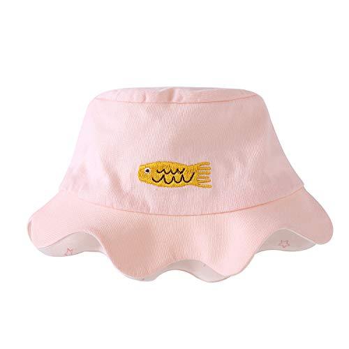 - pureborn Newborn Baby Girl Sun Hat Reversible Bucket Hat Cartoon Spring Summer Cotton Breathable Pink 0-3 Months