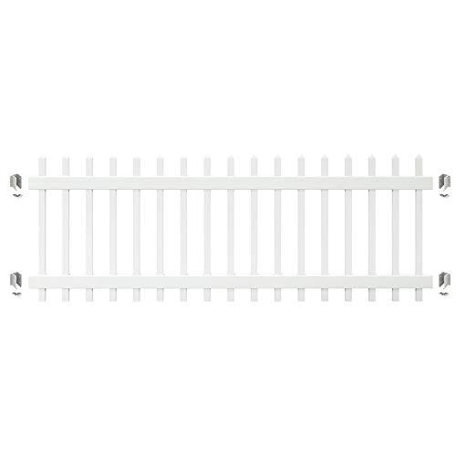 Outdoor Essentials PicketLock 3 ft. x 8 ft. Pinehurst White Vinyl Spaced Picket Fence Panel with Brackets