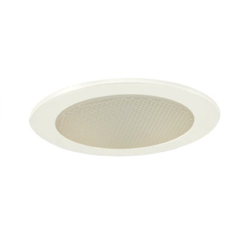 Jesco Lighting TM412WH 4-Inch Aperture Low Voltage Trim Recessed Light, Albalite Glass For Shower, White Finish