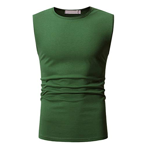 YOcheerful Summer Men's Tops Trendy Casual Solid Sleeveless T-Shirts Loose Tank Tops Daily Blouses(Green, L)