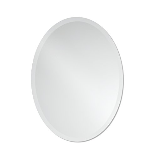 Small Frameless Beveled Oval Wall Mirror | Bathroom, Vanity, Bedroom Mirror | 20-inch x 27-inch (Small Frameless Mirrors)