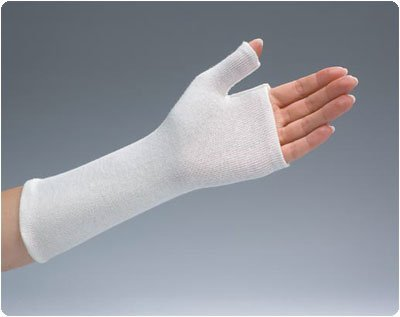 "Rolyan(R) Stockinette Splint Liner Splint Liner Small 3"" (7.6cm) proximal end, 11¼16"" (1.7cm) thumb width"