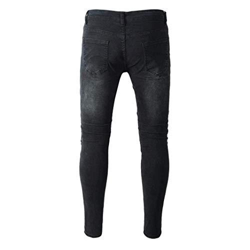 Jeans Look Denim Destroyed Matita Da Y Pantaloni Huixin Uomo Stretch Skinny Biker Nero Strappati A Grigio Nn Tesa Slim Casual 0Epw8qw