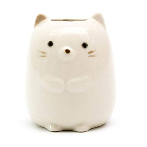 - GARASANI Mini Ceramic Toothbrush, Toothpick Holder Cartoon Animal Tooth Brush Stand Kids Toothbrushes Storage Rack Toothpick Approx 350 (White cat)