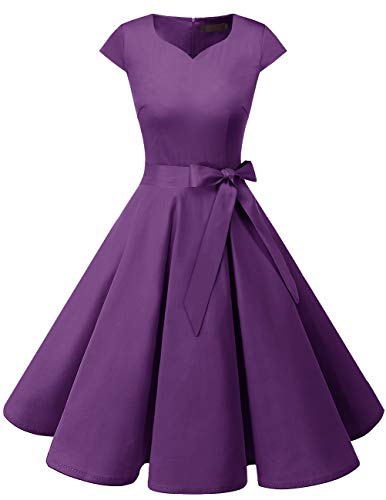 DRESSTELLS Retro 1950s Cocktail Dresses Vintage Swing Dress with Cap-Sleeves Purple -