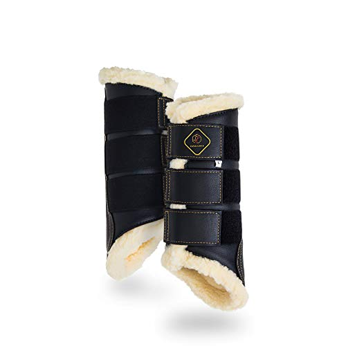 Kavallerie Dressage Horses Boots: Fleece-Lined Faux Leather Woof Brushing Boots for Training, Jumping, Riding, Eventing - Quick Wear for Breathable, Lightweight & Impact-Absorbing Wrap