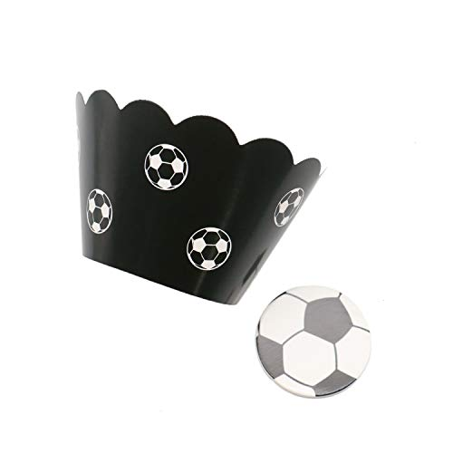 JETEHO 36 Pcs Soccer Football Cupcake Wrappers and Toppers Kit Cake Decoration for Birthday Wedding Beach Party (Football Cup Cake Topper)