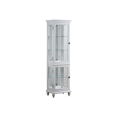 Powell Whitehurst Collection 15A7050 20'' Small Curio with Decorative Molding Three Glass Shelves Turned Legs and Lighting in by Powell