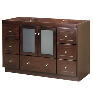 (RONBOW Essentials Shaker 48 Inch Bathroom Vanity Cabinet Base in Dark Cherry Finish, with Soft Close Frosted Glass Doors and Full Extension Drawers 081948-1-H01)