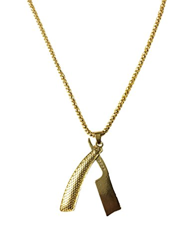 (MD Barber Gold Straight Razor Necklace (Textured) with Rolo Chain and Key Ring)