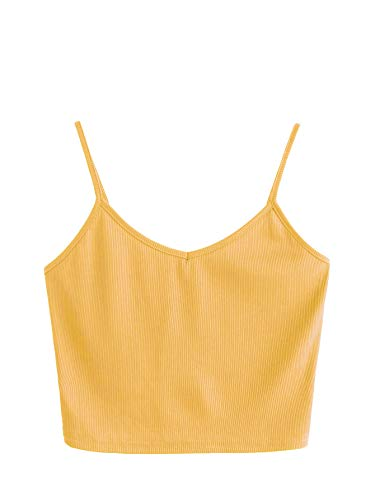 (SheIn Women's Casual V Neck Sleeveless Ribbed Knit Cami Crop Top Yellow)