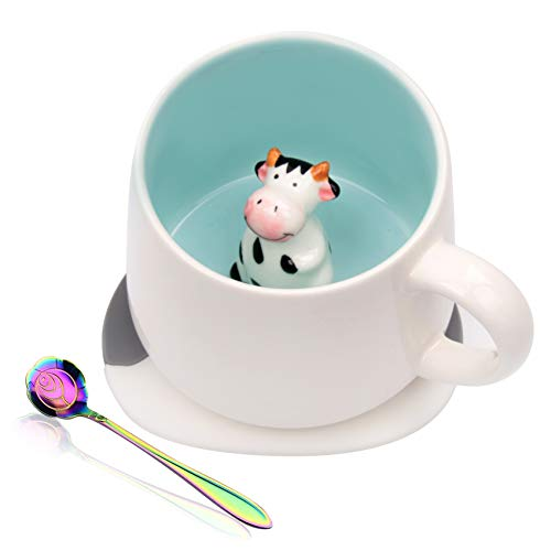 Ozazuco 3D Cow Inside Cute Coffee Mug Tea cup Funny Handmade White Ceramic Coffee Cup for Friends Roommate Family or Kids Animal Coffee Cup
