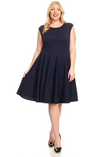 Flare Navy Womens USA Short Plus Dresses Fit Made Sleeve in Summer Round Size nq7rgwxYq1