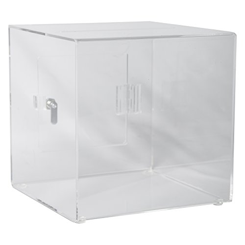 Clear-Ad - SBA-888 - Acrylic Ballot Box with Lock - Plastic Container for Donation Voting, Charity, Survey, Raffle, Contest, Suggestions, Tips, Comments (8x8x8 Clear) ()