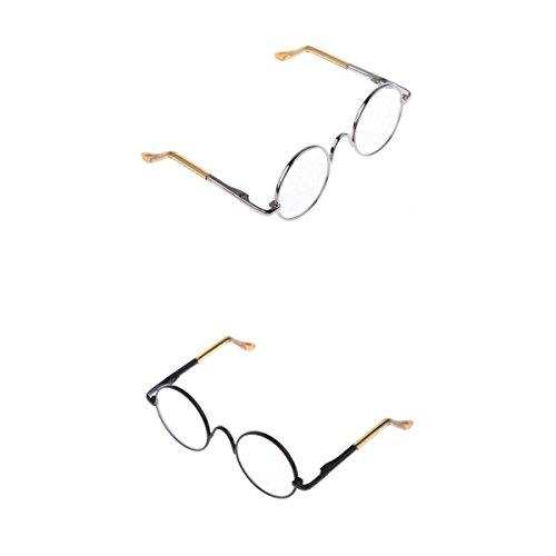 (MagiDeal 2 Pairs 1/6 Blythe Dolls Eyeglasses Glasses Round Frame Eyewear Vintage Style Accessory )