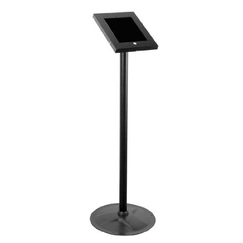 Anti-Theft Tablet Security Stand Kiosk - Heavy Duty Aluminum Metal Floor Standing Mount Tablet Case Holder Display w/ 37.80 Inch Pole Height, Designed for iPad 2 3 4 Air Tablets - Pyle PSPADLK45, Black